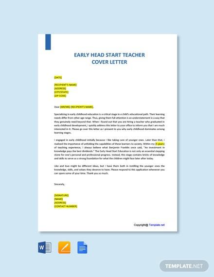 Free Early Head Start Teacher Cover Letter Template
