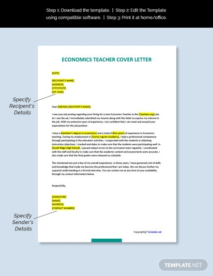 Free Economics Teacher Cover Letter Template