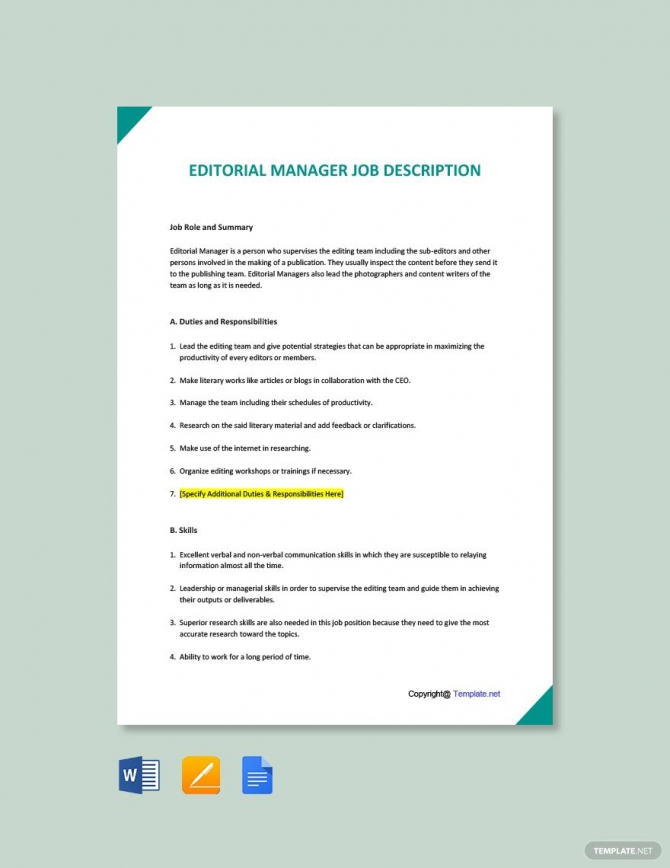 Free Editorial Manager Job Description Template In