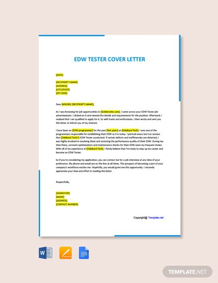 Free Edw Tester Cover Letter Template