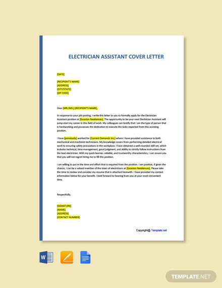 Free Electrician Assistant Cover Letter Template