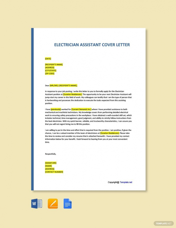 Free Electrician Assistant Cover Letter Template Ad    Affiliate