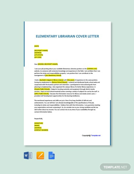 Free Elementary Librarian Cover Letter Template