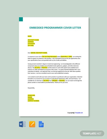 Free Embedded Programmer Cover Letter Template