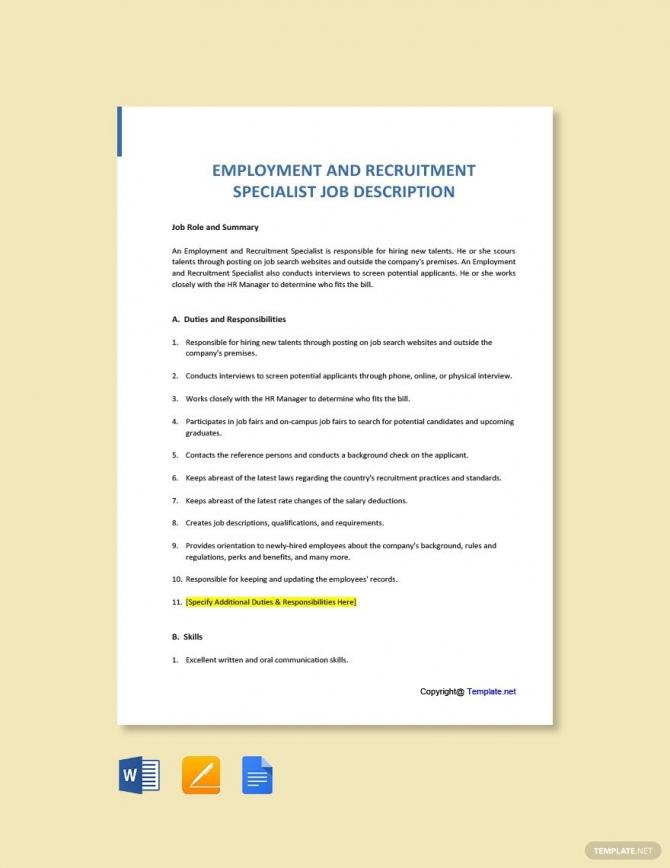 Free Employment And Recruitment Specialist Job Description