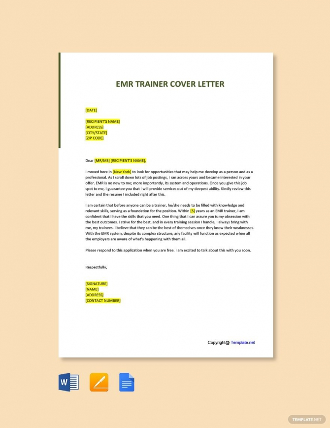 Free Emr Trainer Cover Letter Template In