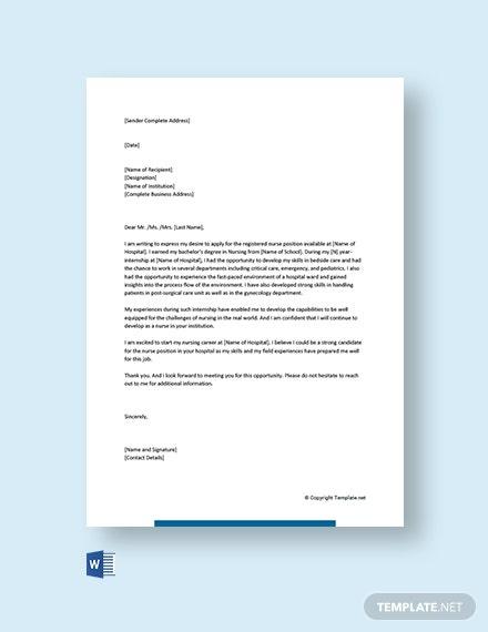 Free Entry Level Nursing Cover Letter Template