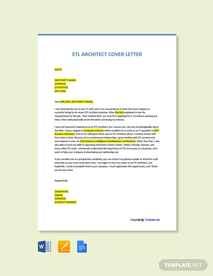 Free Etl Architect Cover Letter Template