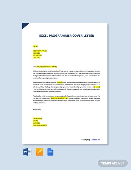 Free Excel Programmer Cover Letter Template