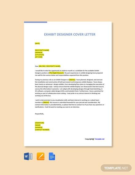 Free Exhibit Designer Cover Letter Template