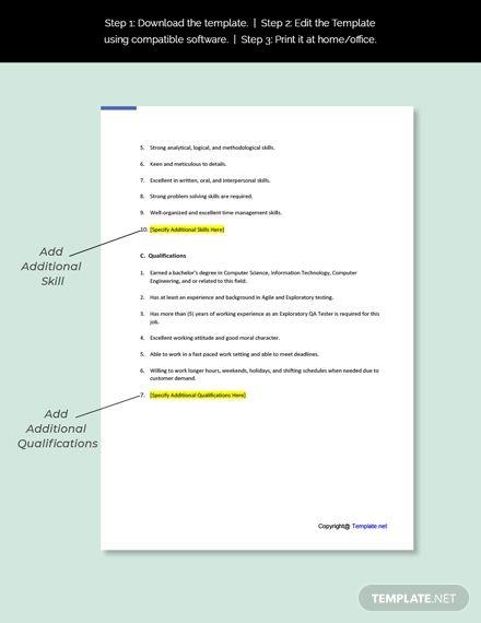 Free Exploratory Qa Tester Job Description