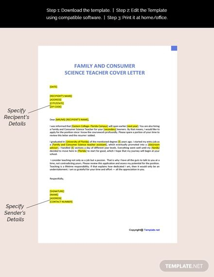 Free Family And Consumer Science Teacher Cover Letter Template In