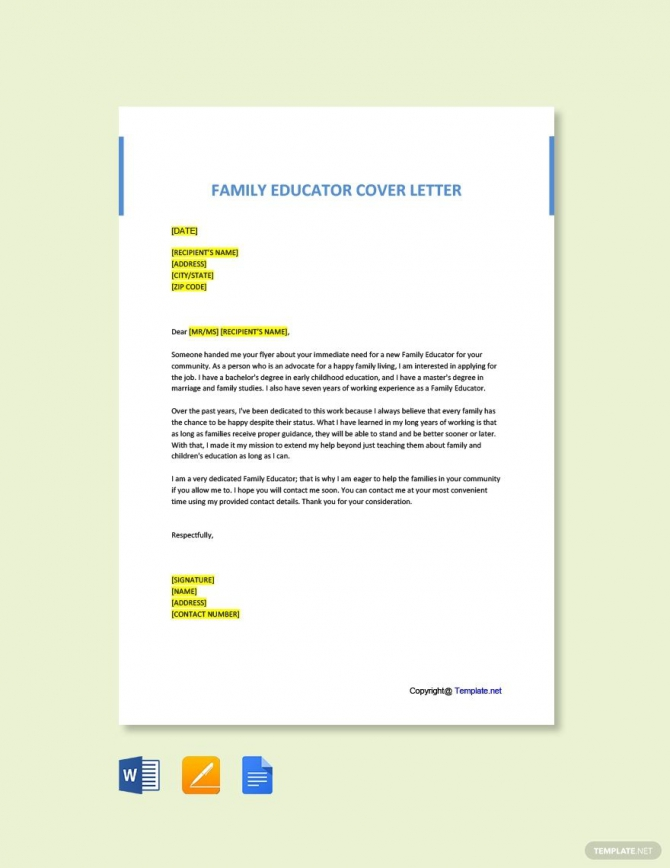 Free Family Educator Cover Letter Template Ad    Affiliate
