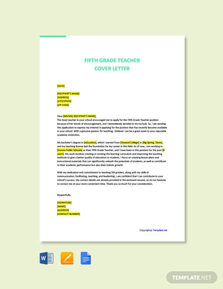 Free Fifth Grade Teacher Cover Letter Template