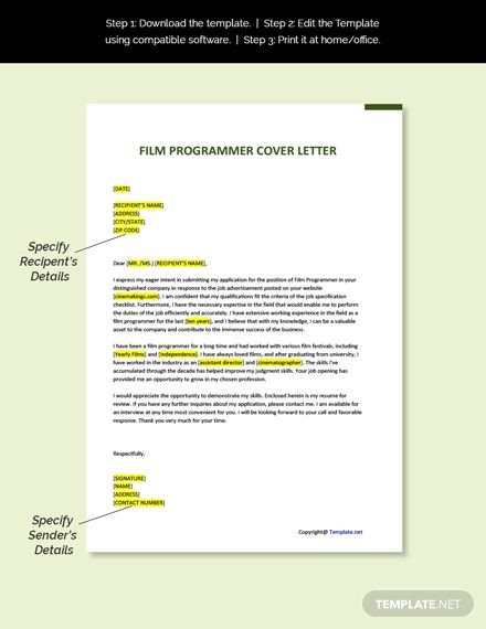 Free Film Programmer Cover Letter Template