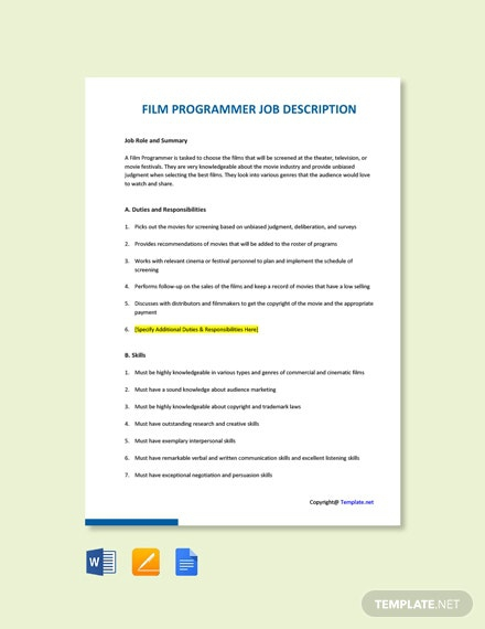 Free Film Programmer Job Ad And Description Template