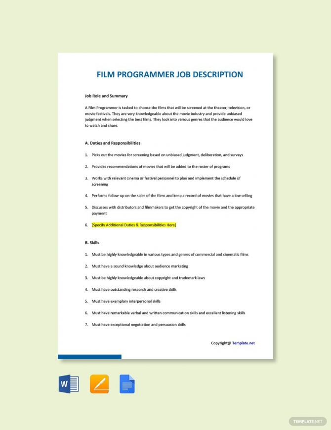 Free Film Programmer Job Description Template In