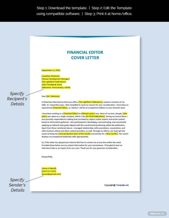Free Financial Editor Cover Letter