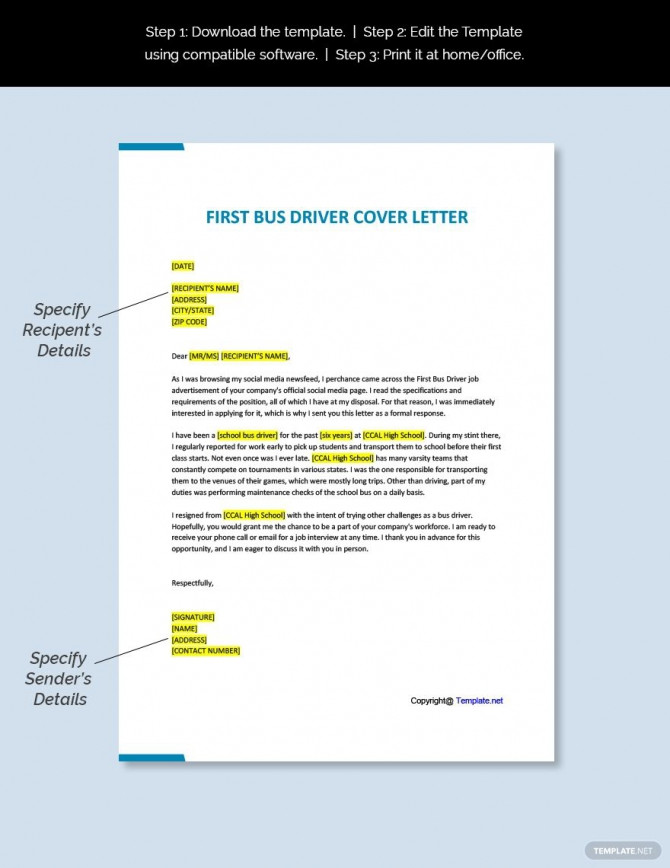 Free First Bus Driver Cover Letter Template Ad    Ad  Driver