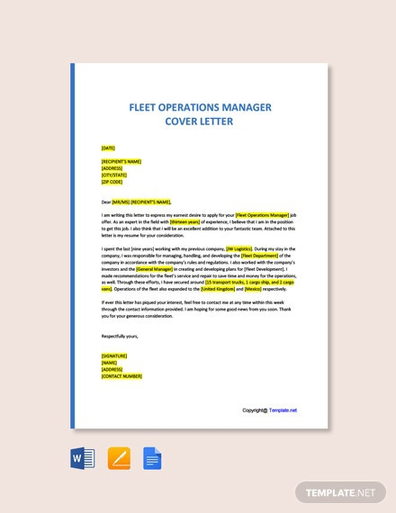 Free Fleet Operations Manager Cover Letter Template