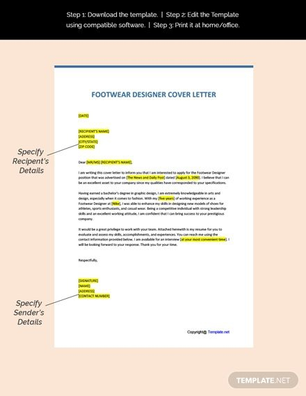 Free Footwear Designer Cover Letter Template In