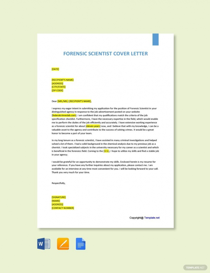 Free Forensic Scientist Cover Letter Template In