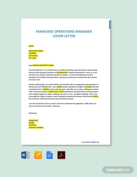 Free Franchise Operations Manager Cover Letter Template