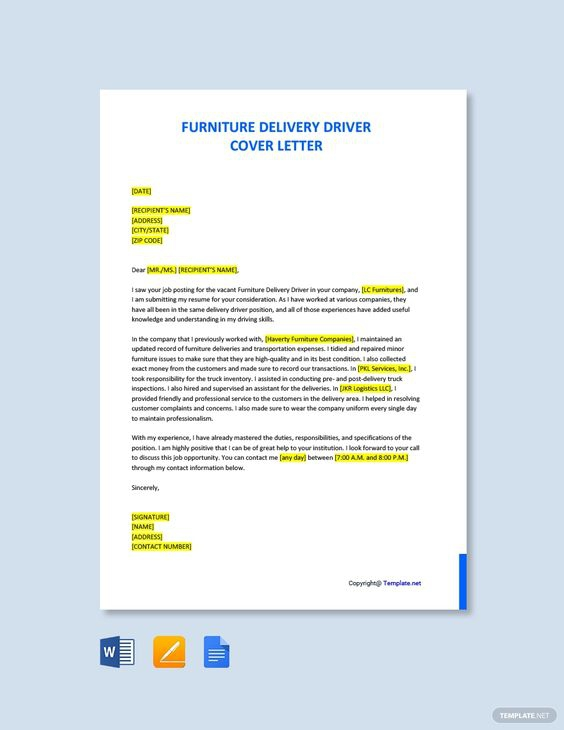 Free Furniture Delivery Driver Cover Letter Template Ad