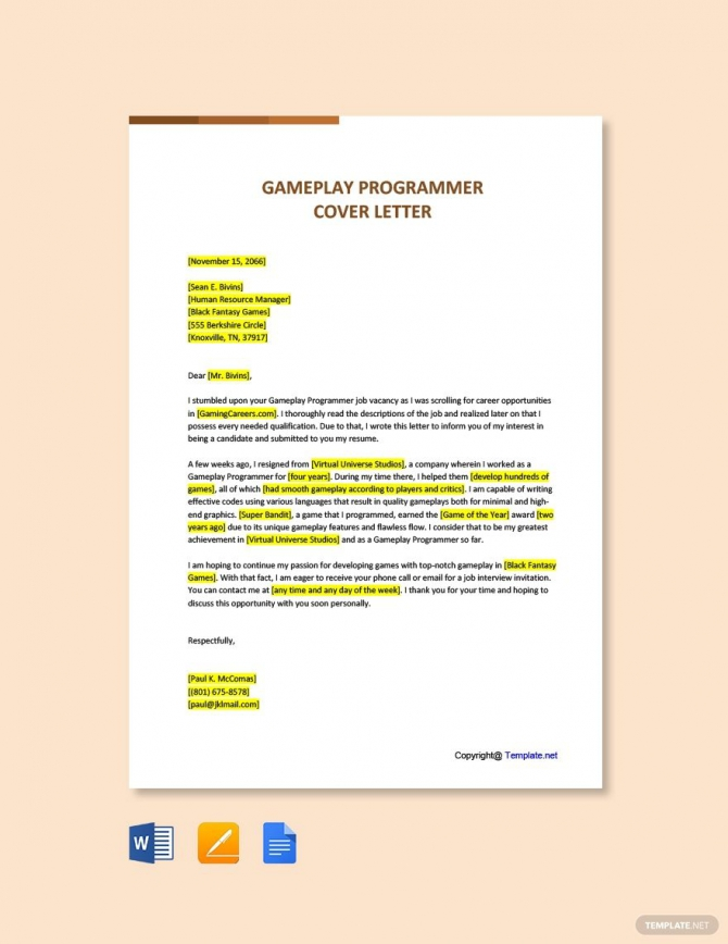 Free Gameplay Programmer Cover Letter Template In