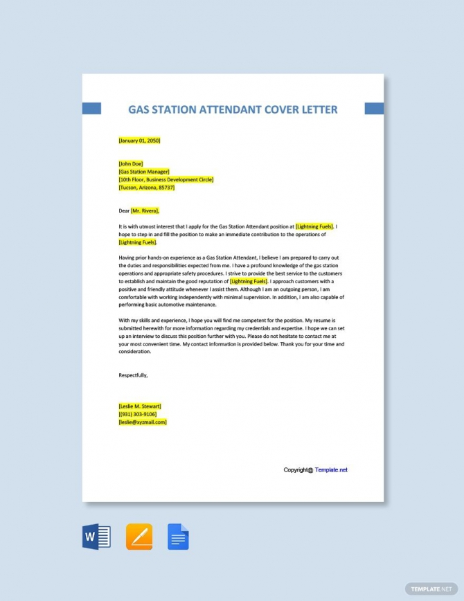 Free Gas Station Attendant Cover Letter Template Ad    Ad