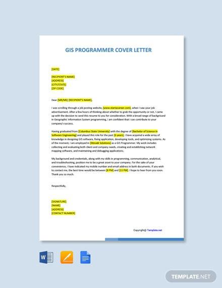 Free Gis Programmer Cover Letter Template