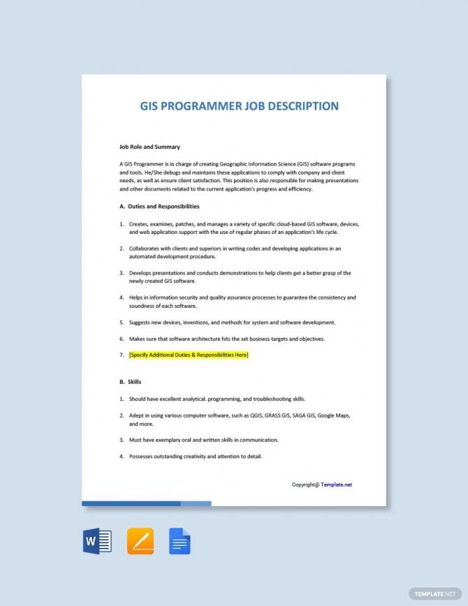 Free Gis Programmer Job Description Template In
