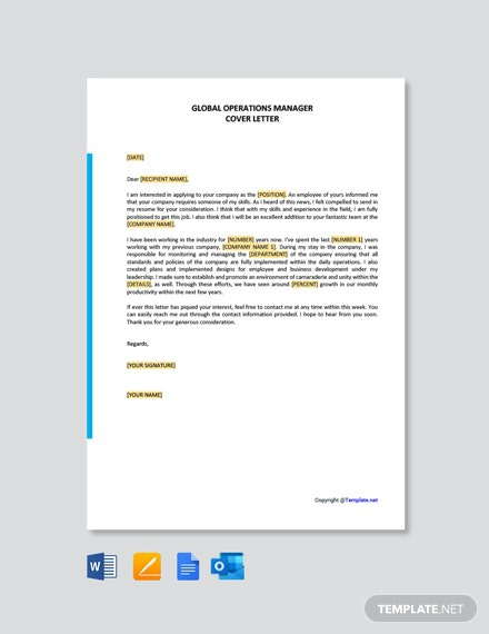 Free Global Operations Manager Cover Letter Template