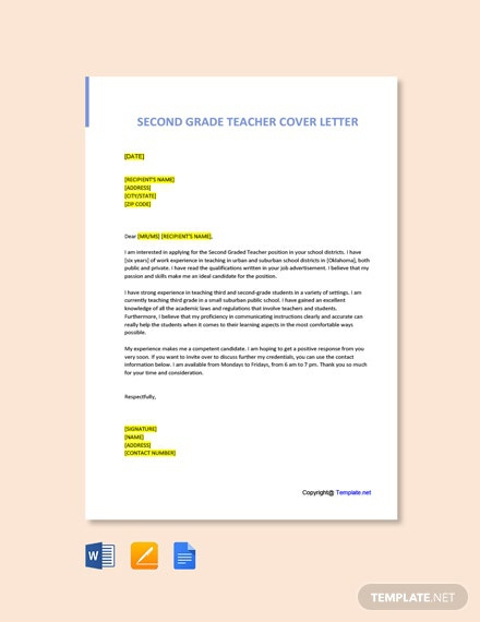 Free Grade Teacher Cover Letter Templates