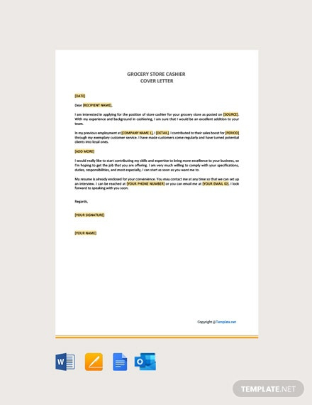 Free Grocery Store Cashier Cover Letter