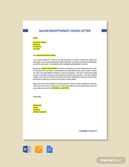 Free Hair Salon Receptionist Cover Letter Template