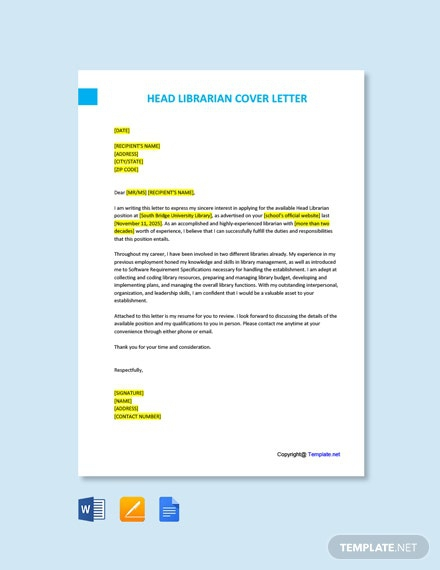 Free Head Librarian Cover Letter Template