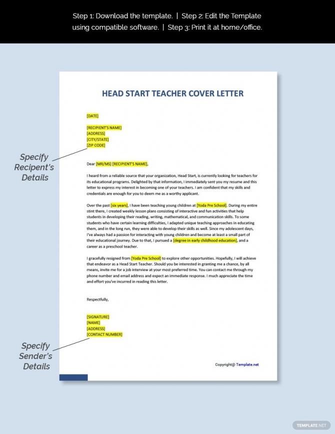Free Head Start Teacher Cover Letter Template In