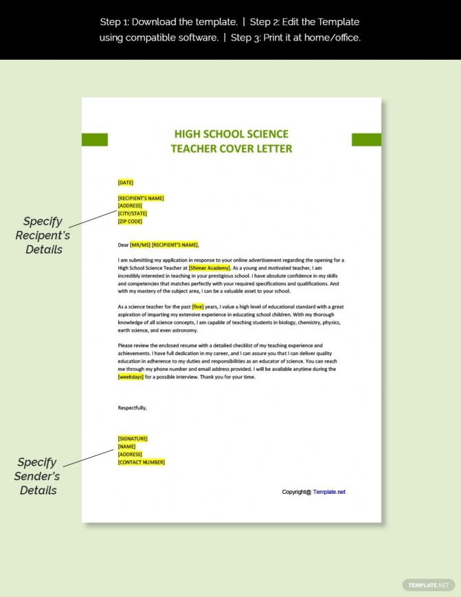 Free High School Science Teacher Cover Letter