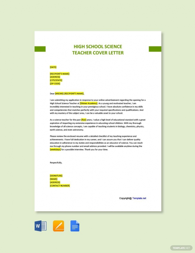 Free High School Science Teacher Cover Letter Template In