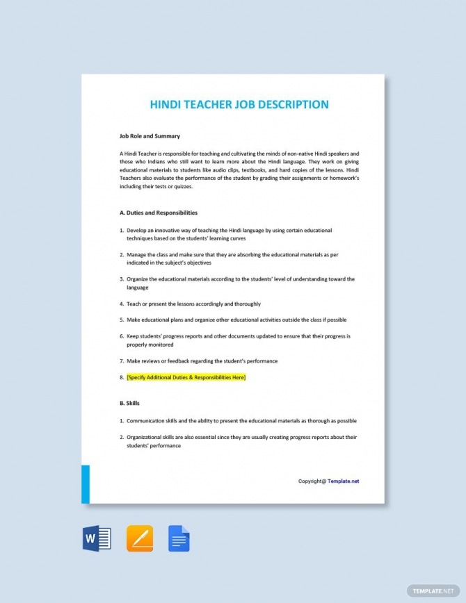 Free Hindi Teacher Job Description Template Ad    Ad  Teacher