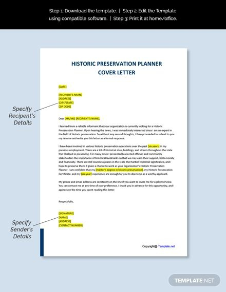 Free Historic Preservation Planner Cover Letter Template