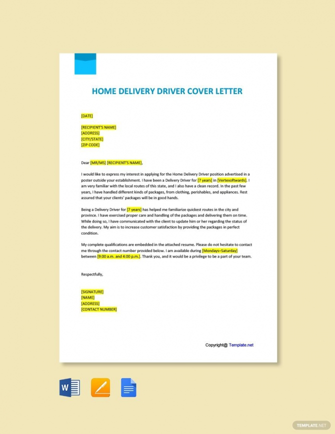 Free Home Delivery Driver Cover Letter Template Ad    Ad