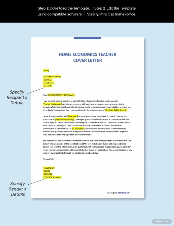 Free Home Economics Teacher Cover Letter Template In