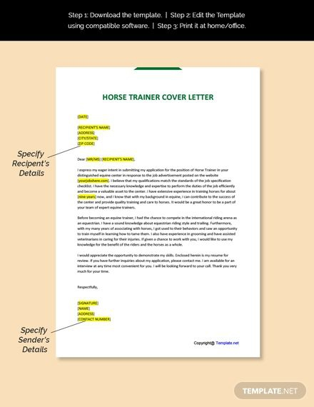 Free Horse Trainer Cover Letter Template