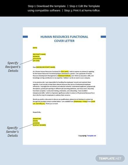 Free Human Resources Functional Cover Letter Template In