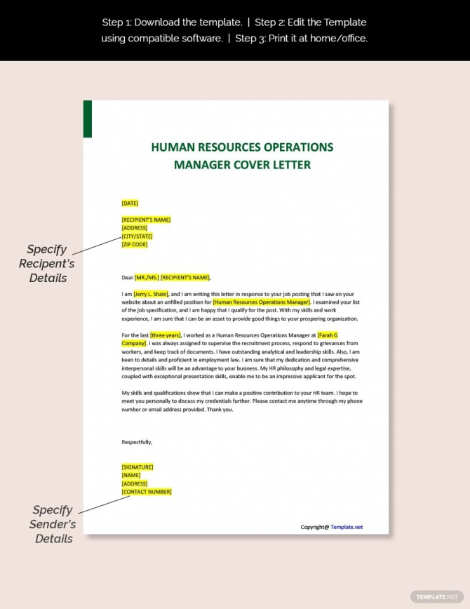 Free Human Resources Operations Manager Cover Letter Template In