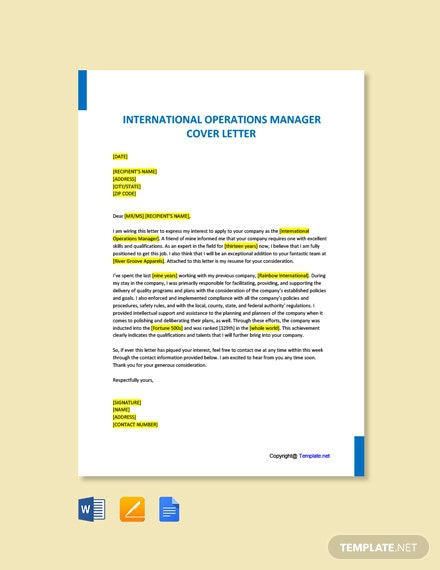 Free International Operations Manager Cover Letter Template