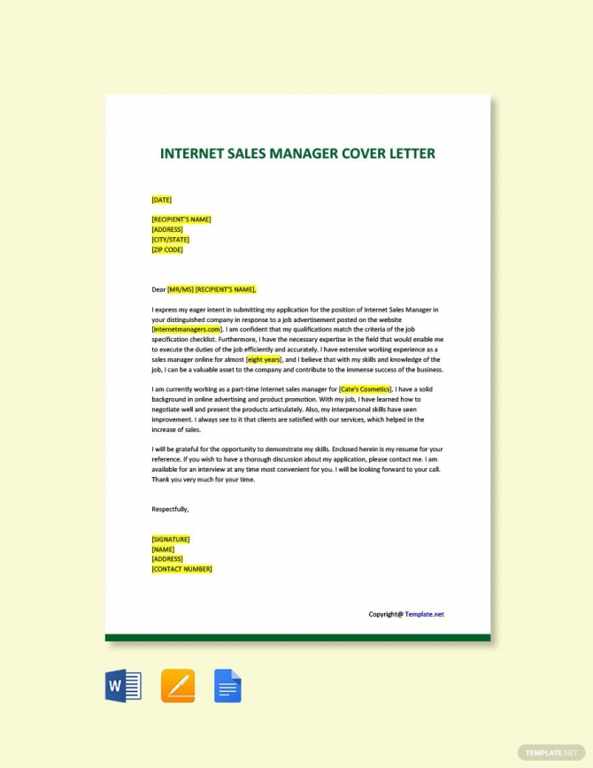 Free Internet Sales Manager Cover Letter Template In