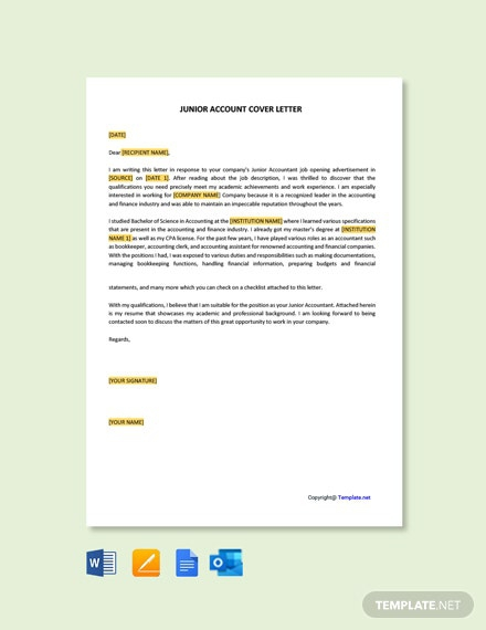 Free Junior Accountant Cover Letter